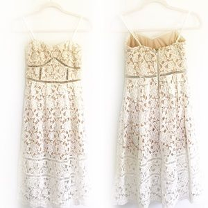 Lulu's White Nude Underlay Lace Crochet Midi Dress